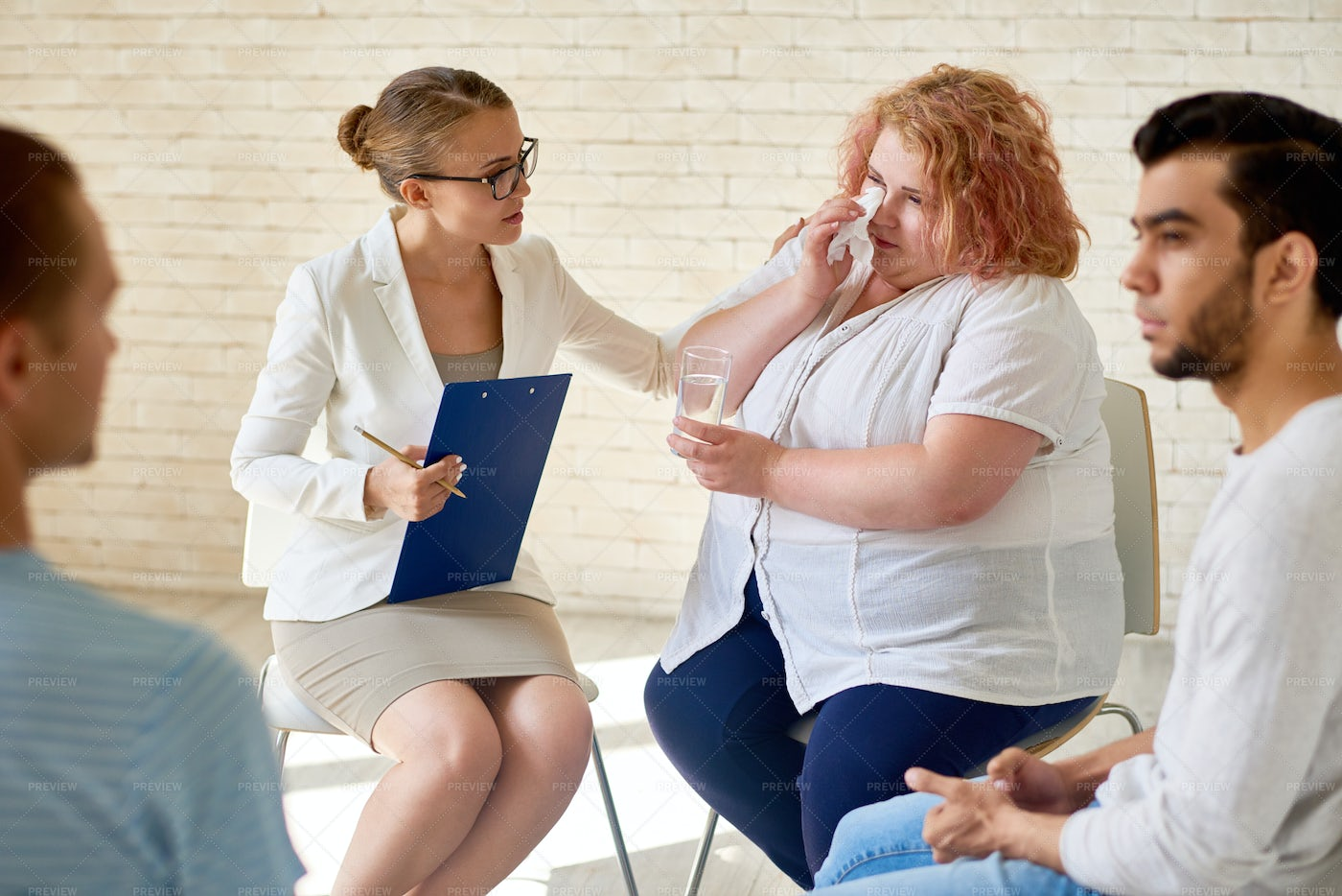 Obese Patient At Group Therapy...: Stock Photos
