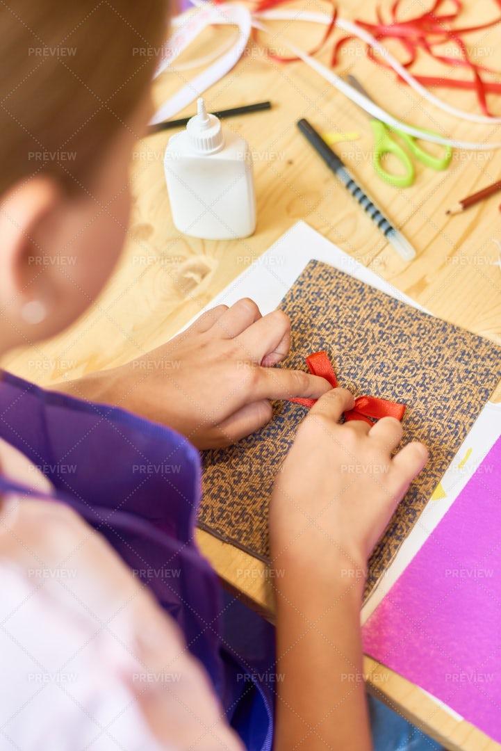 Girl Making Handmade Gift Card: Stock Photos