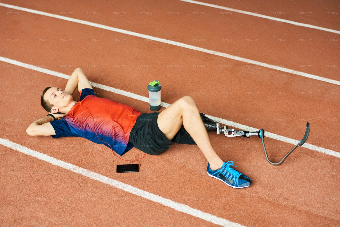 Handicapped Sportsman Resting On...: Stock Photos