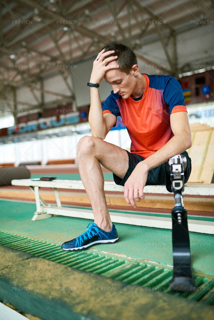 Handicapped Sportsman Sitting On...: Stock Photos