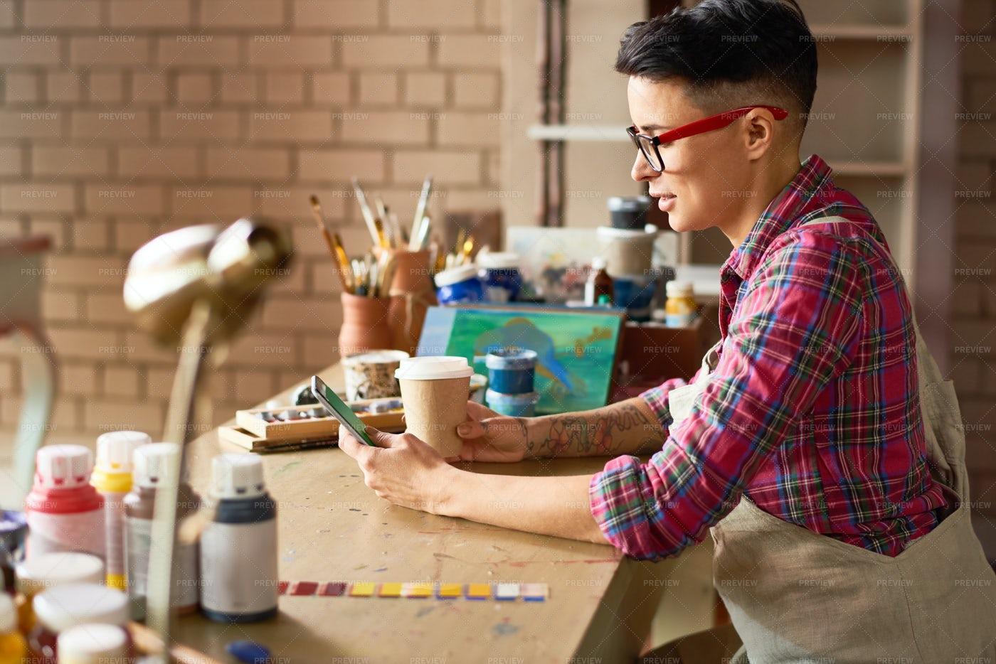 Contemporary Female Artist Taking...: Stock Photos