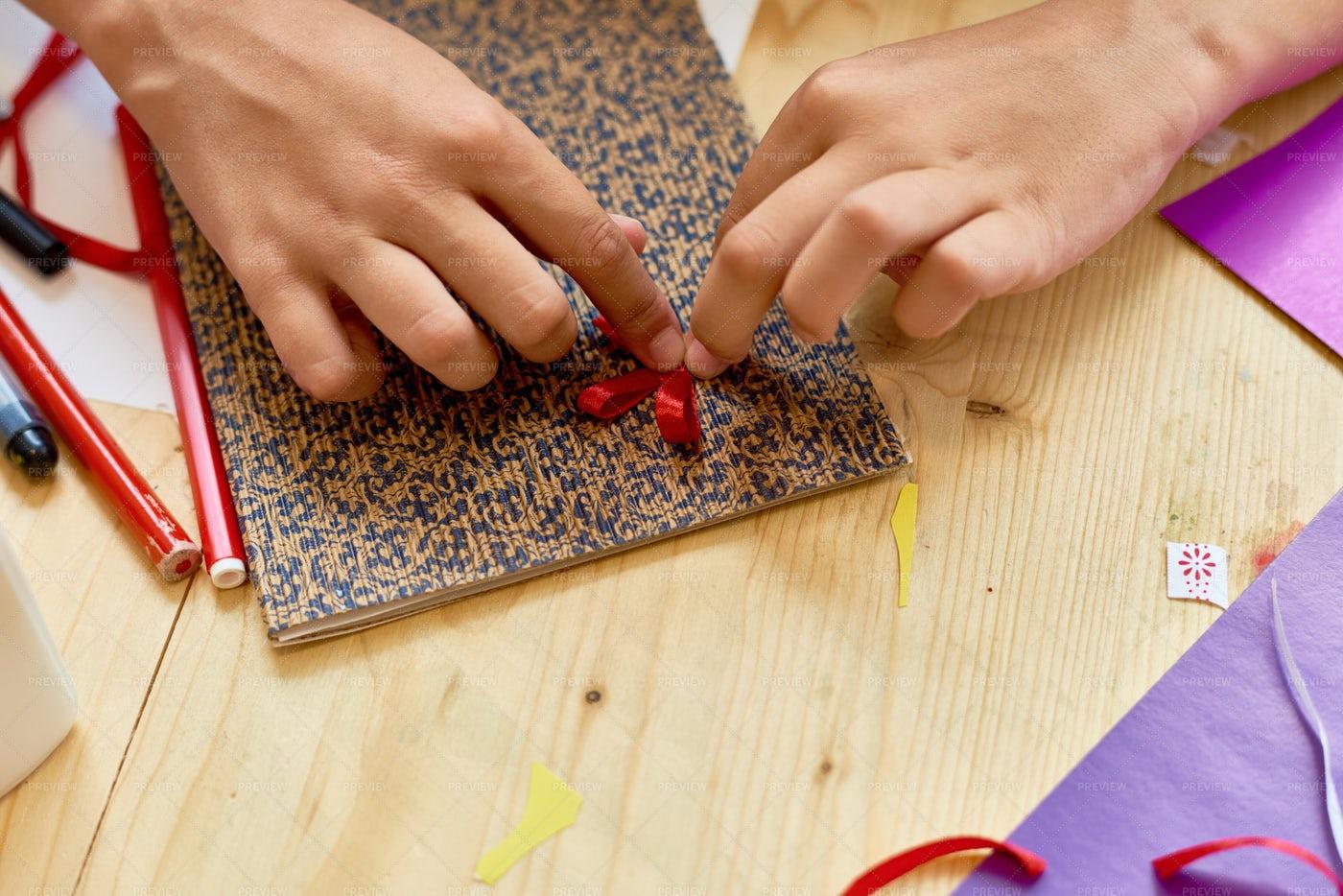 Girl Making Handmade Card Close Up: Stock Photos