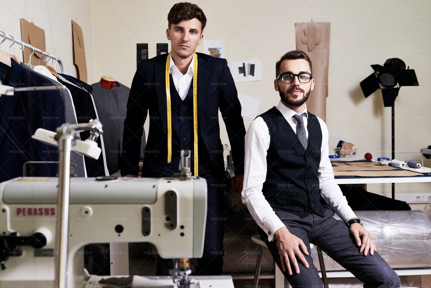 Tailors In Traditional Atelier: Stock Photos
