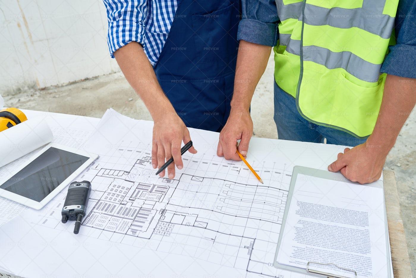 Working Meeting At Construction...: Stock Photos