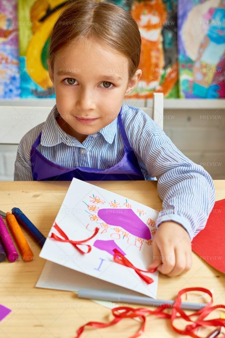 Cute Girl Making Handmade Card For...: Stock Photos