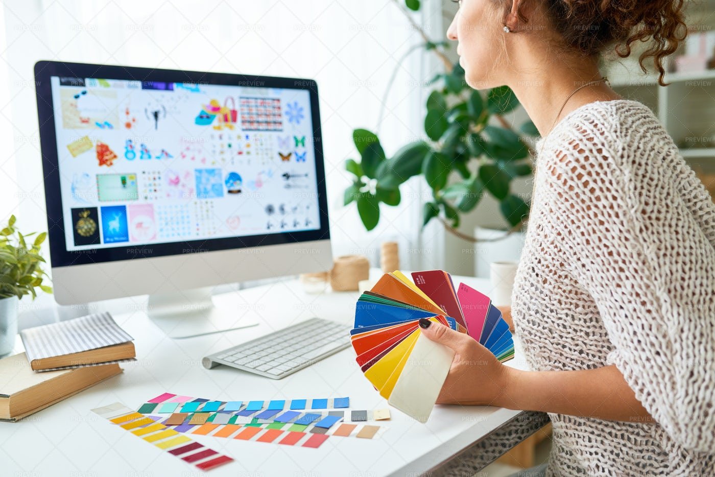Creative Designer Working From Home: Stock Photos