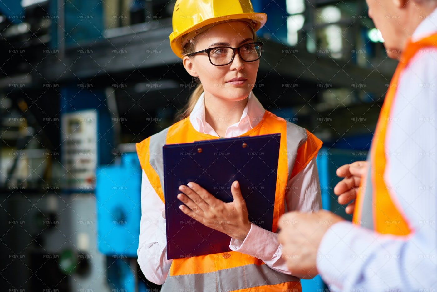 Safety Inspection At Factory...: Stock Photos