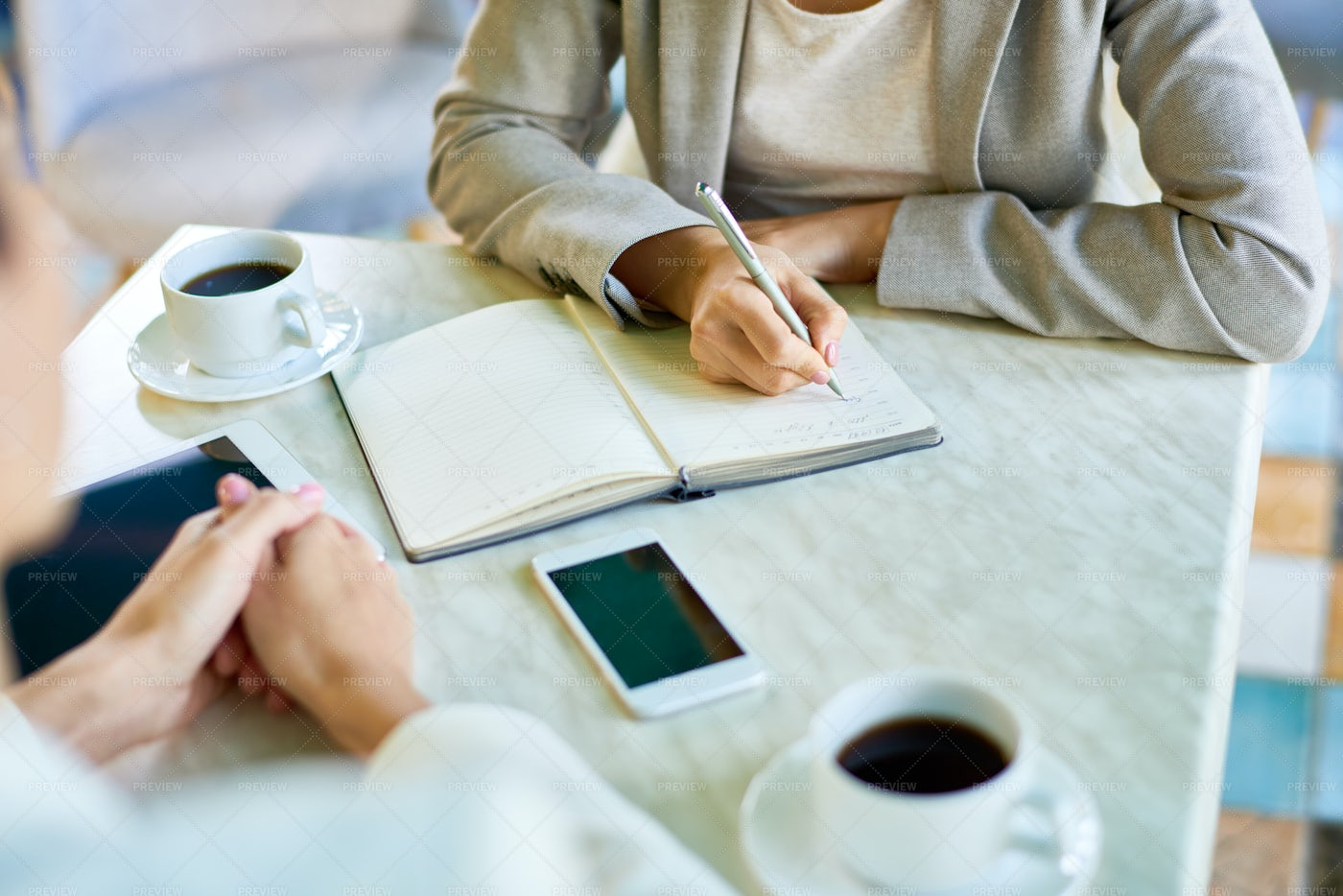 Business Meeting In Cafe Close Up: Stock Photos