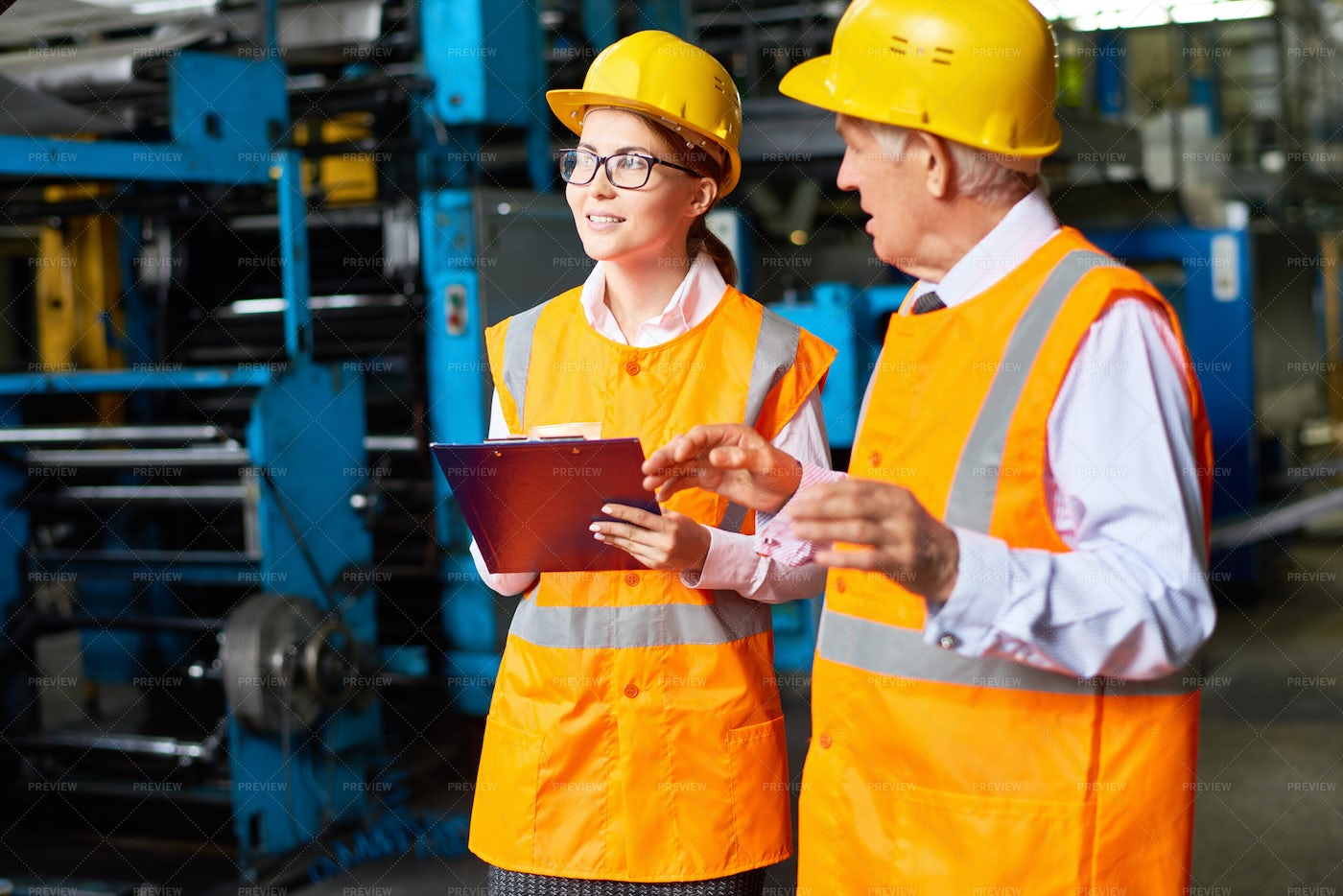 Safety Inspection At Modern Plant: Stock Photos