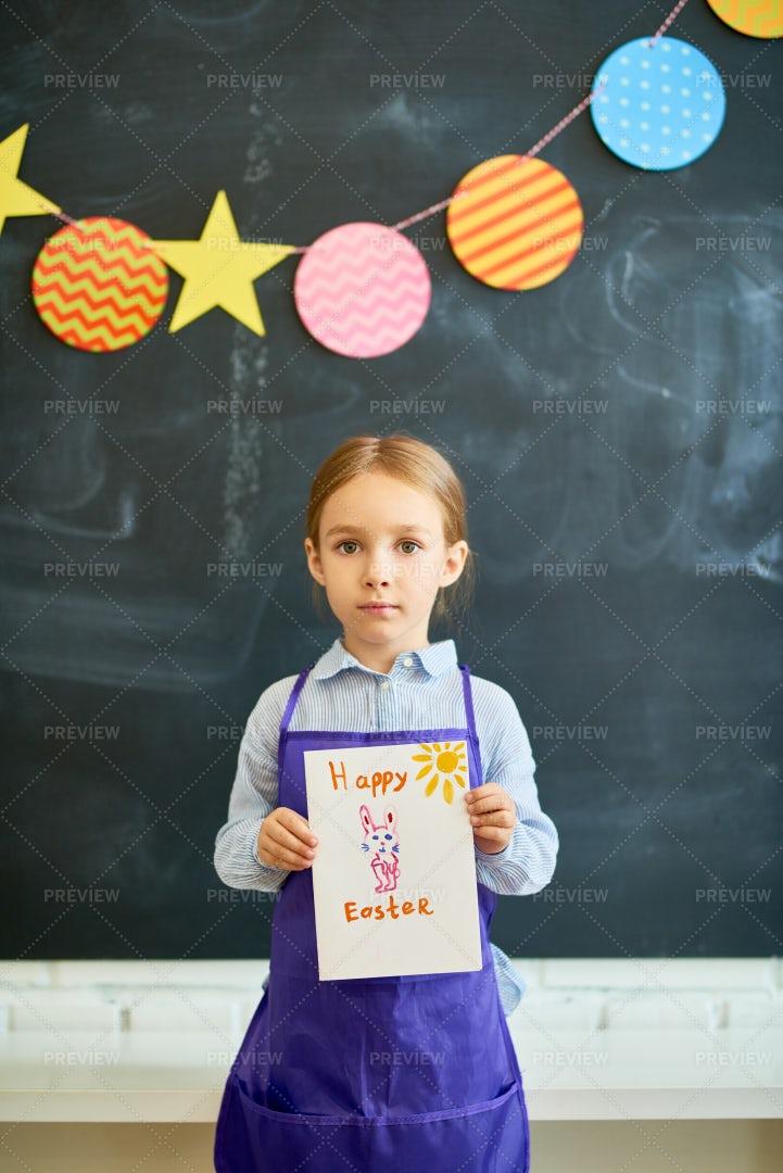 Little Girl Holding Easter Gift...: Stock Photos