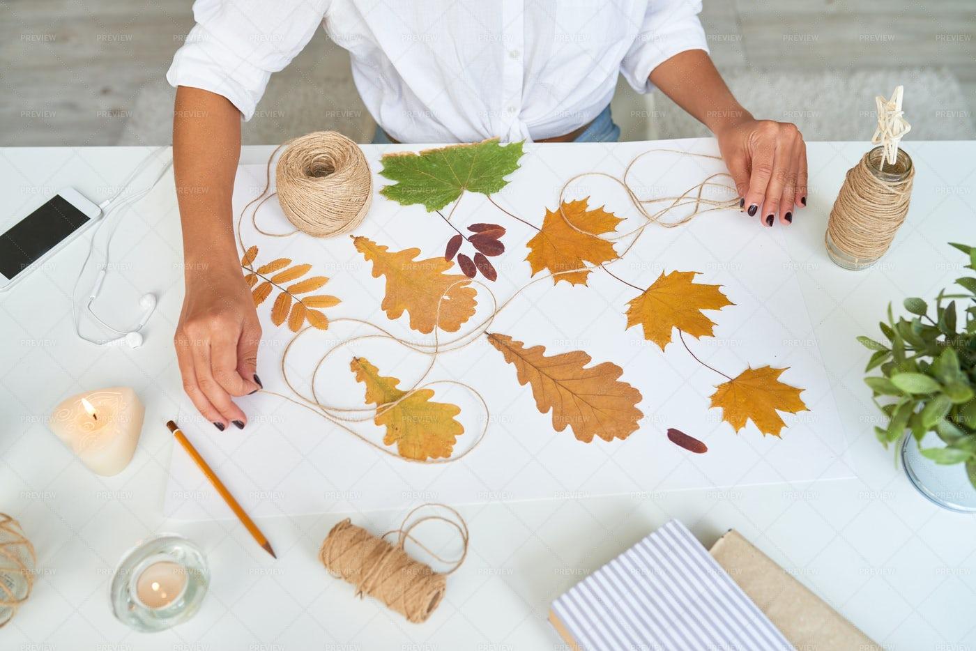 Designer Making Handmade Autumn...: Stock Photos