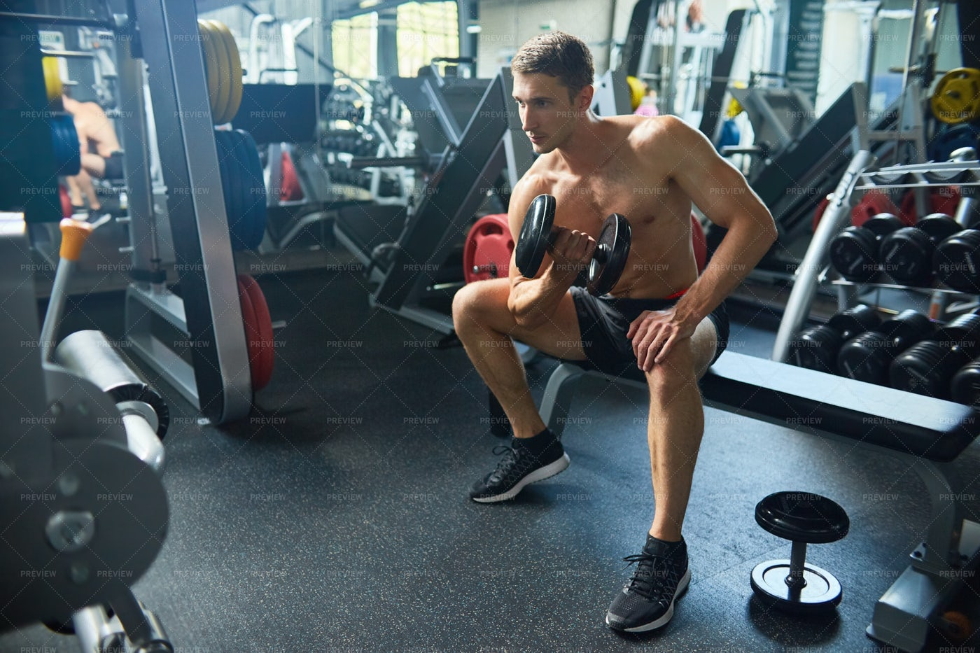 Handsome Man Working Out In Gym: Stock Photos