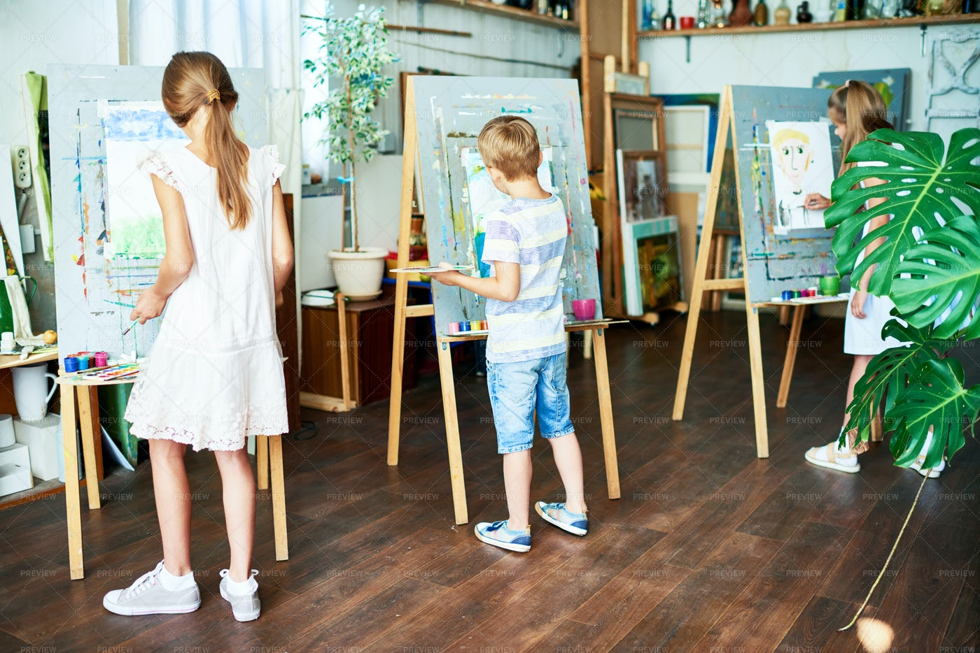 Gifted Pupils Drawing At Art Studio: Stock Photos