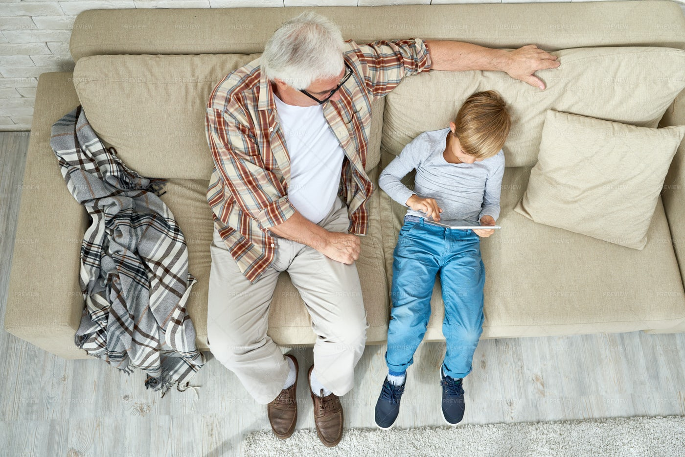 Leisure Time With Grandpa: Stock Photos