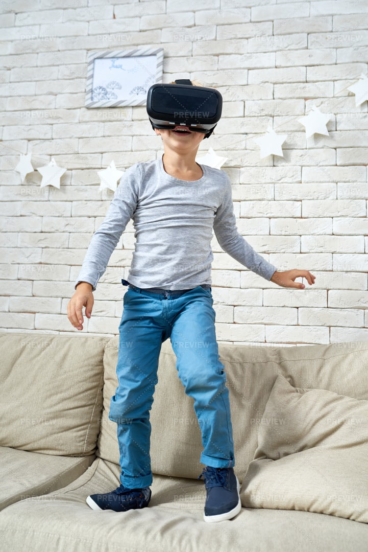 Happy Little Boy  Wearing VR...: Stock Photos