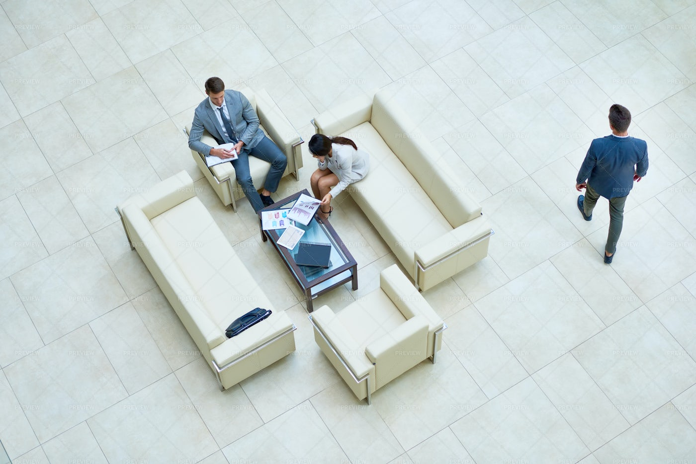 Top View Of Business People In Hall: Stock Photos