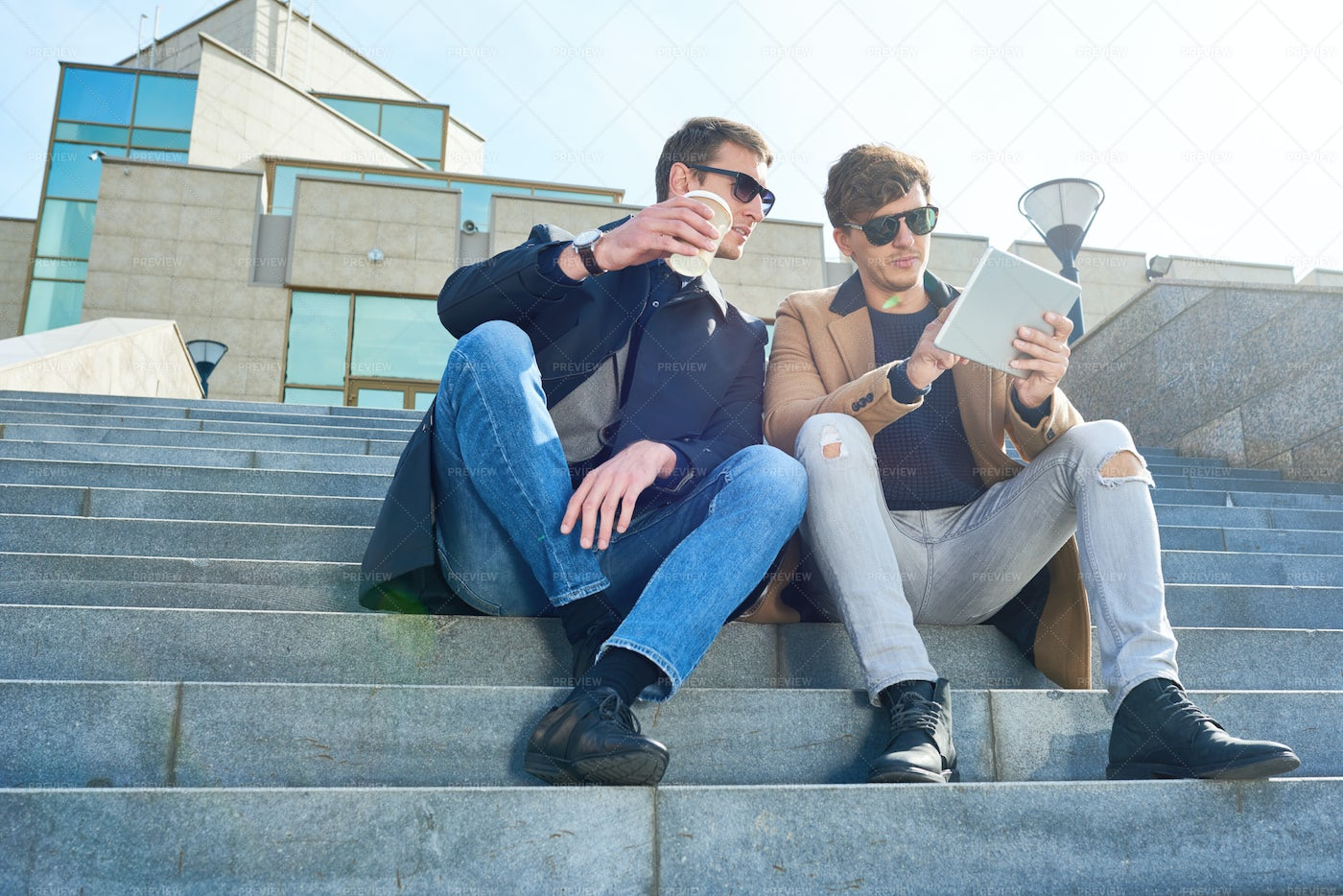 Modern Young Men Using Tablet In...: Stock Photos