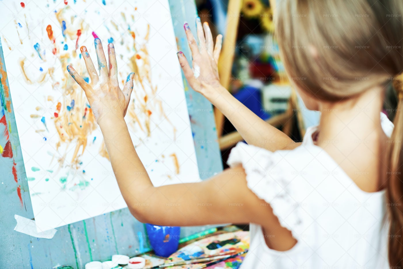 Creative Girl Wrapped Up In Drawing: Stock Photos