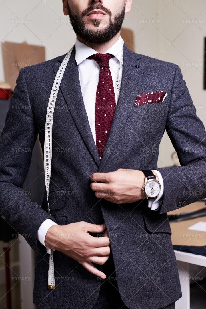 Handsome Model Wearing Bespoke Suit: Stock Photos