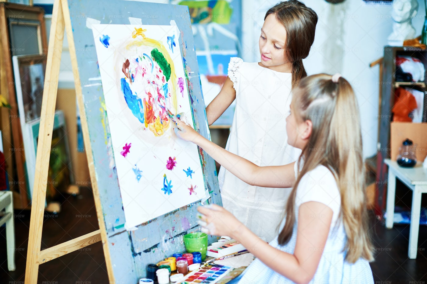 Creating Finger Painting: Stock Photos