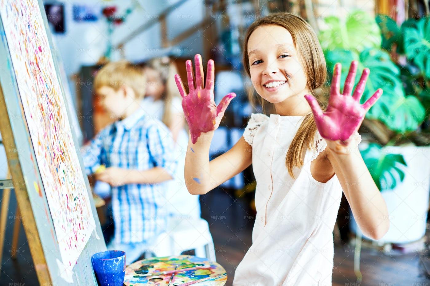 Cheerful Girl At Art Studio: Stock Photos