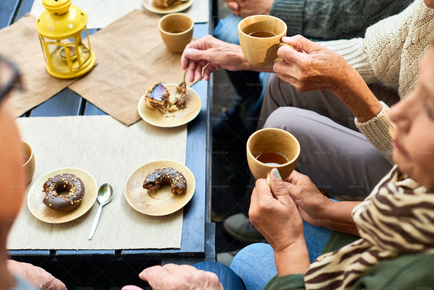 Senior People Enjoying Tea Time: Stock Photos