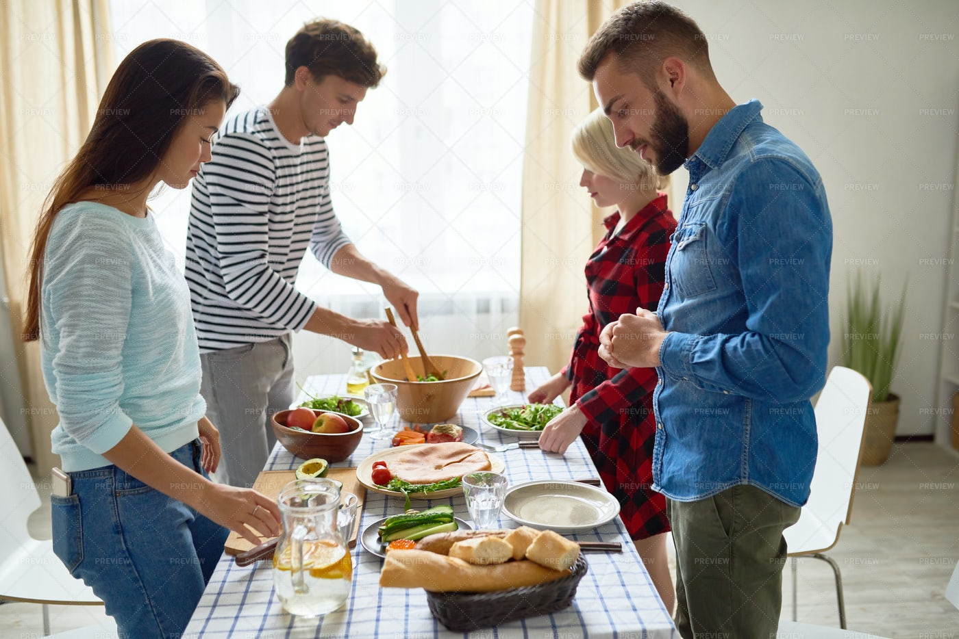 Group Of Friends Making Dinner: Stock Photos