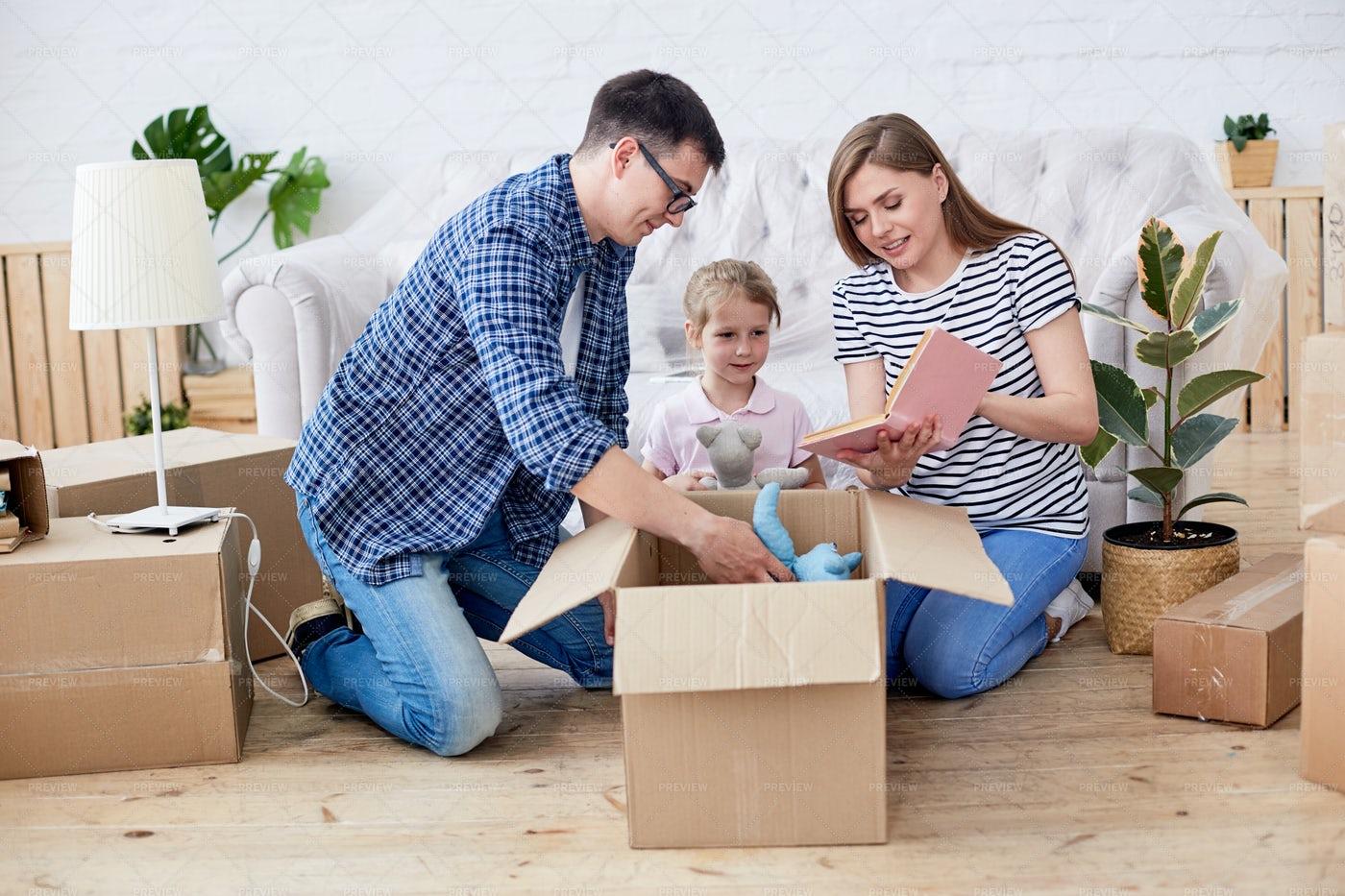 Unpacking Moving Boxes: Stock Photos