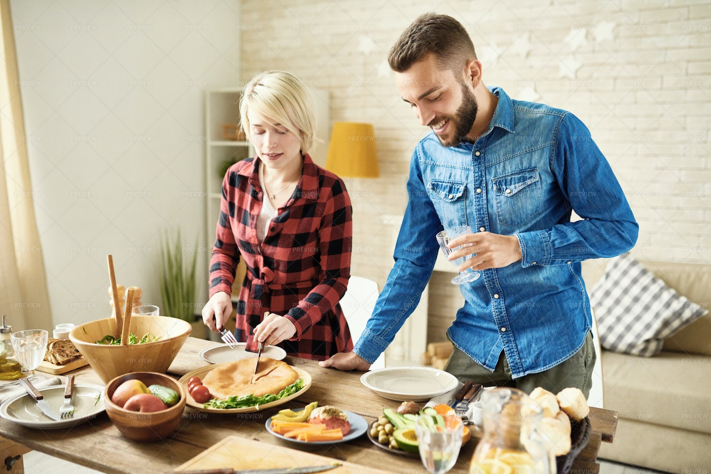 Young Couple At Dinner Table: Stock Photos