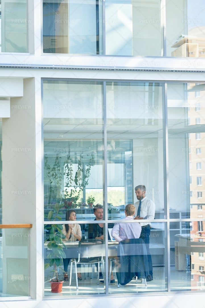 Business Meeting In Modern Glass...: Stock Photos