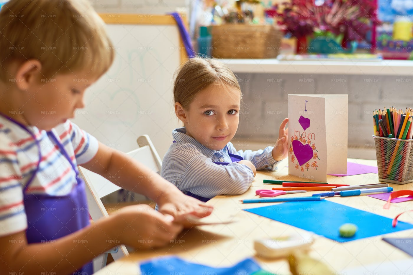 Children Making Gift Card In Art...: Stock Photos