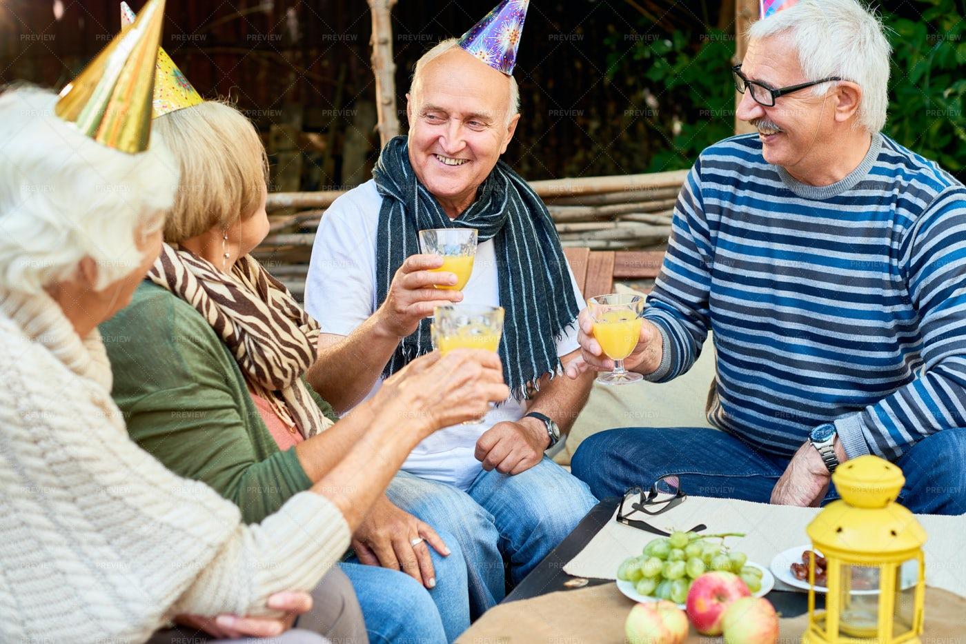 Birthday Party Of Senior Man: Stock Photos