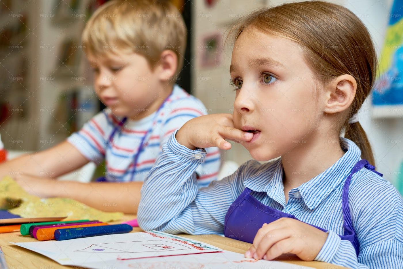 Attentive Little Kids In Pre-School: Stock Photos