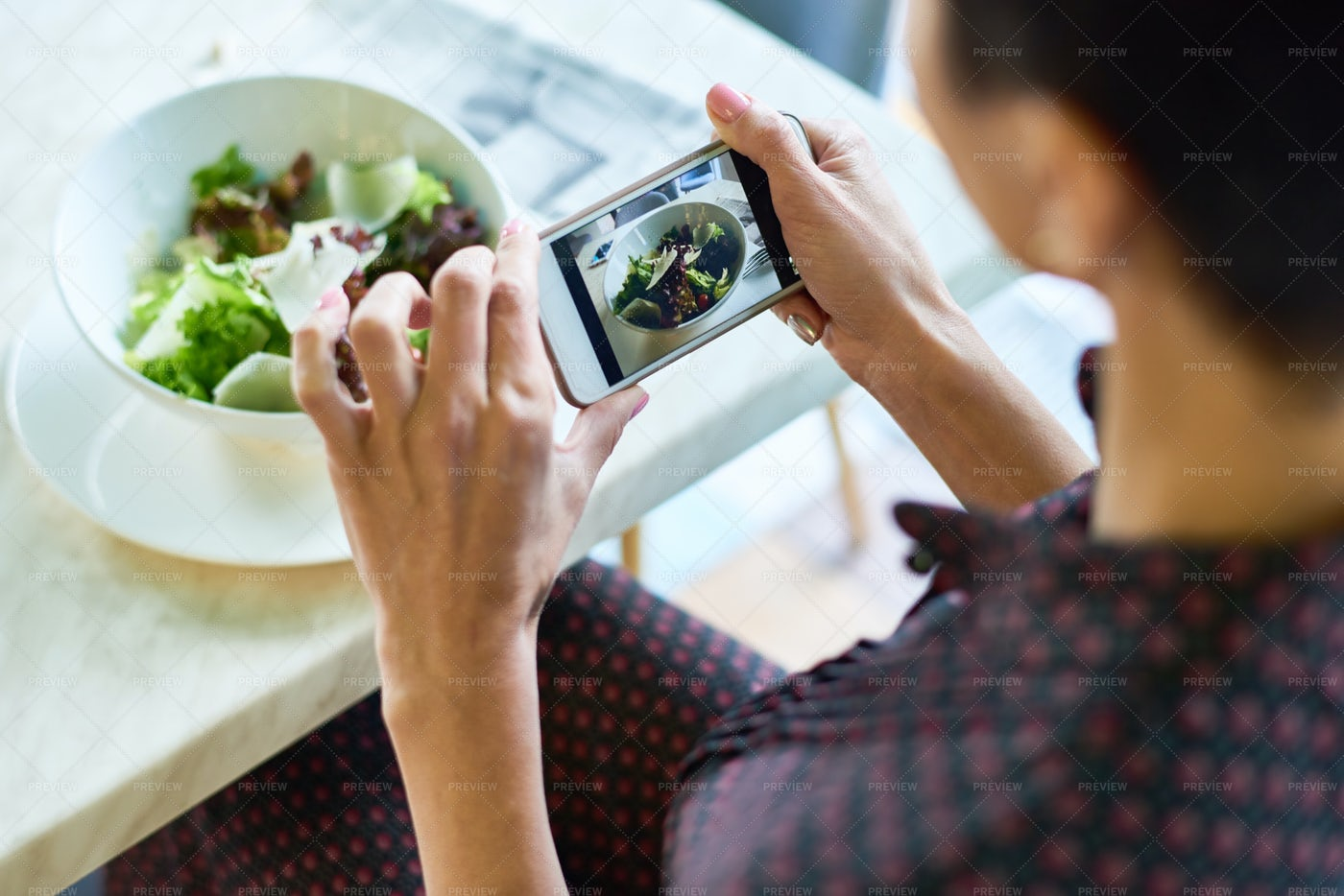 Young Woman Taking Photo Of Salad...: Stock Photos