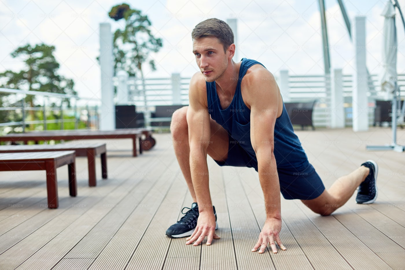 Handsome Man Working Out Outdoors: Stock Photos