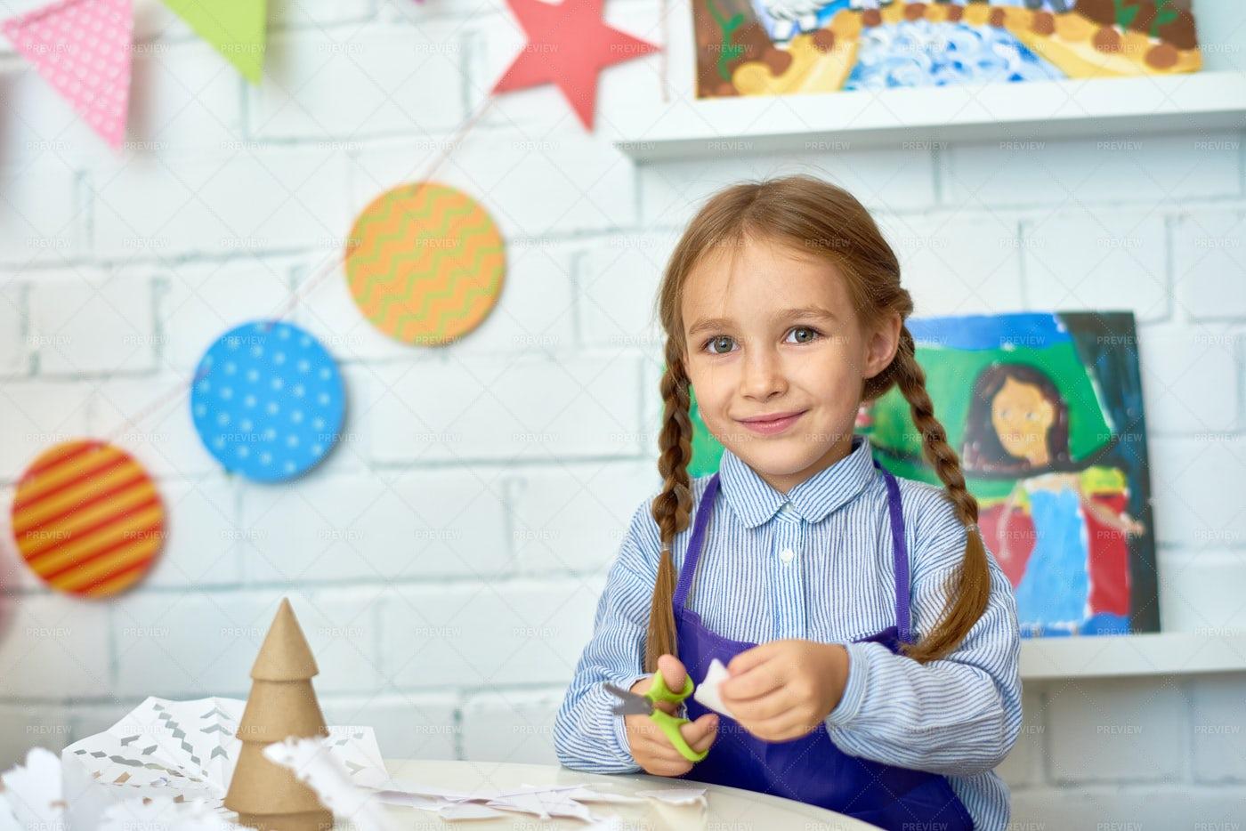 Cute Girl Making Christmas...: Stock Photos
