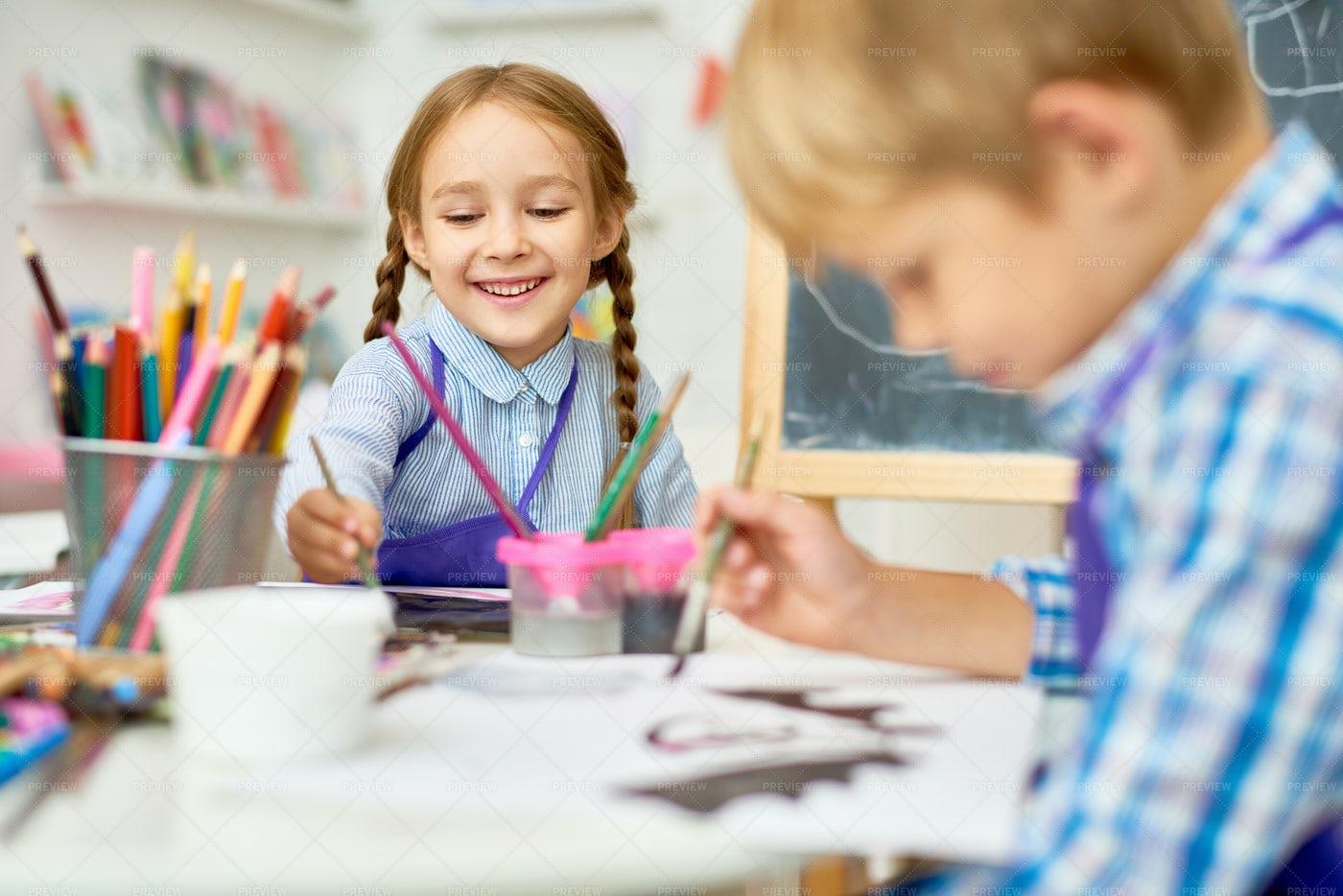 Happy Children Painting In Art...: Stock Photos