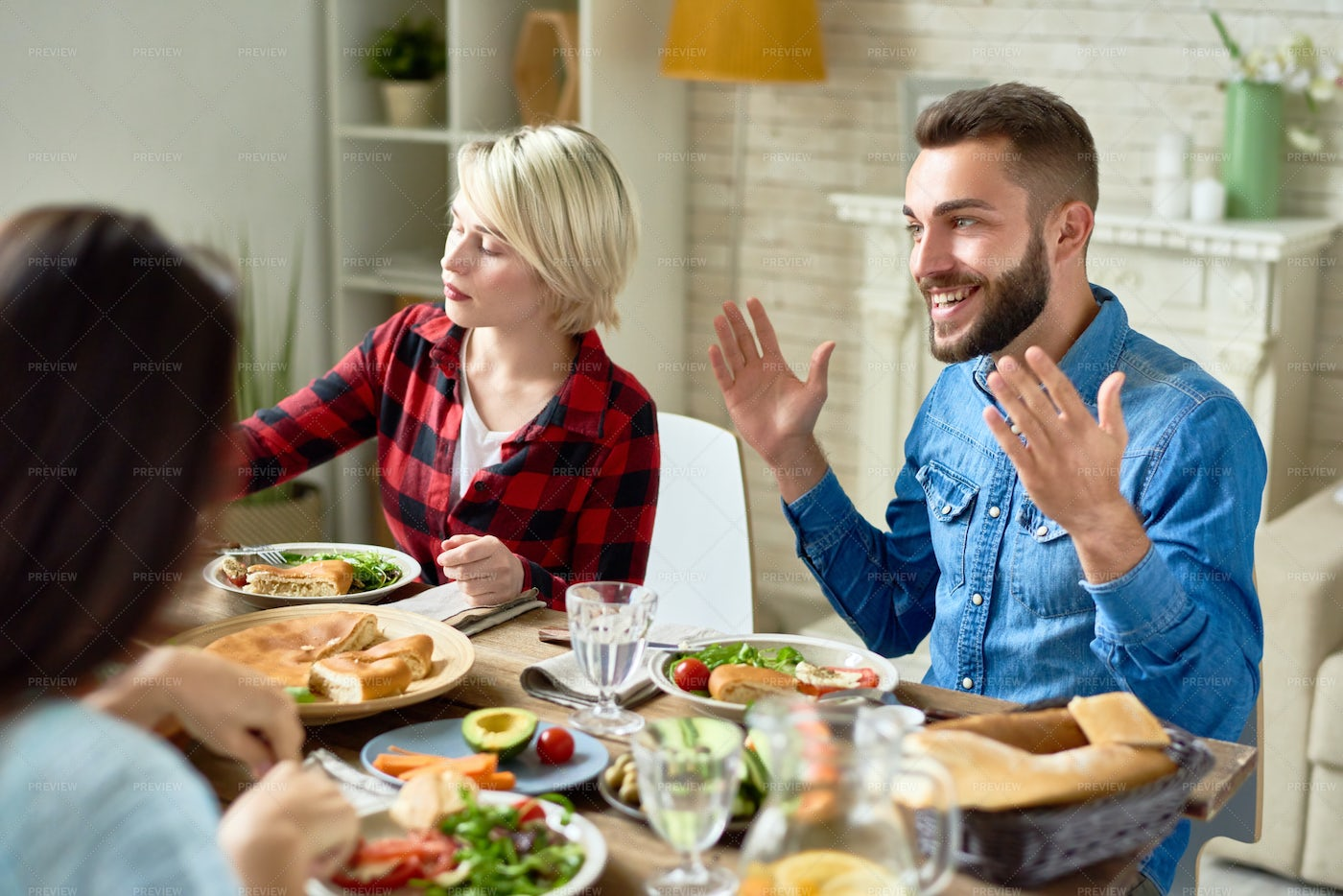 Happy Man Telling Stories At Dinner...: Stock Photos
