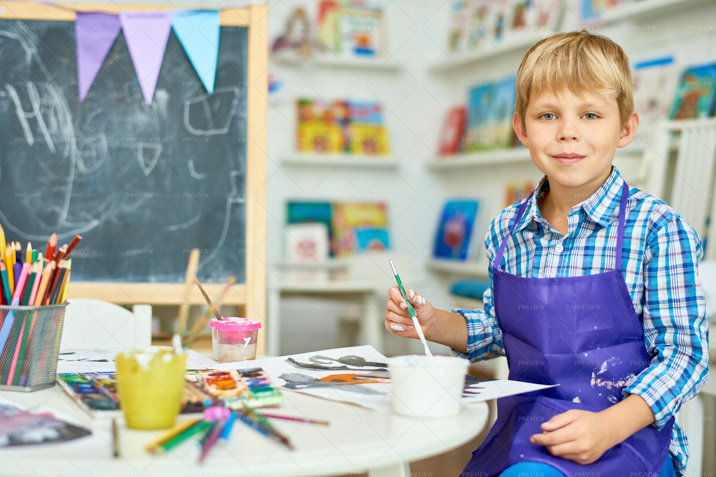 Blonde Little Boy Posing In Art...: Stock Photos
