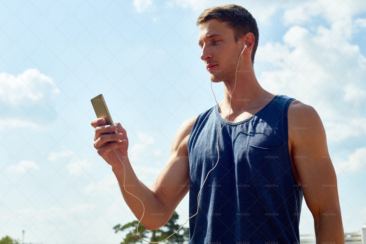 Sportsman Choosing Jogging Track: Stock Photos