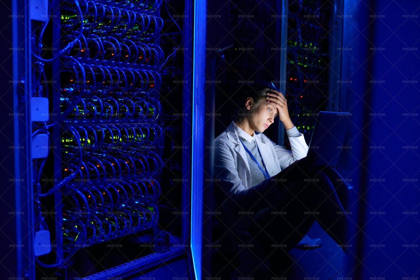 Network Engineer Working At Night: Stock Photos
