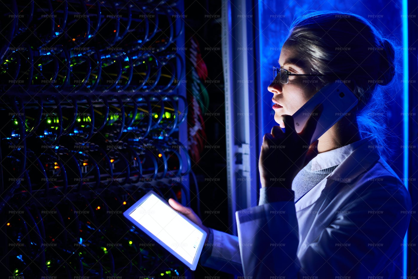 Female Scientist In Futuristic Data...: Stock Photos