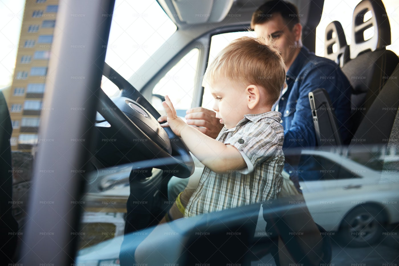 Little Boy On Front Seat: Stock Photos