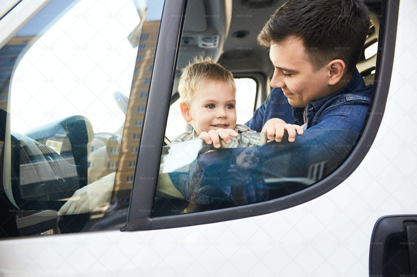 Father And Son In Car: Stock Photos