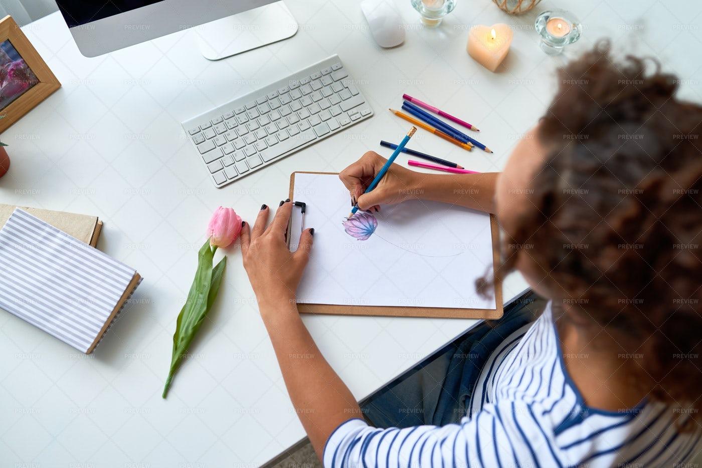 Creative Artist Drawing Sketch: Stock Photos