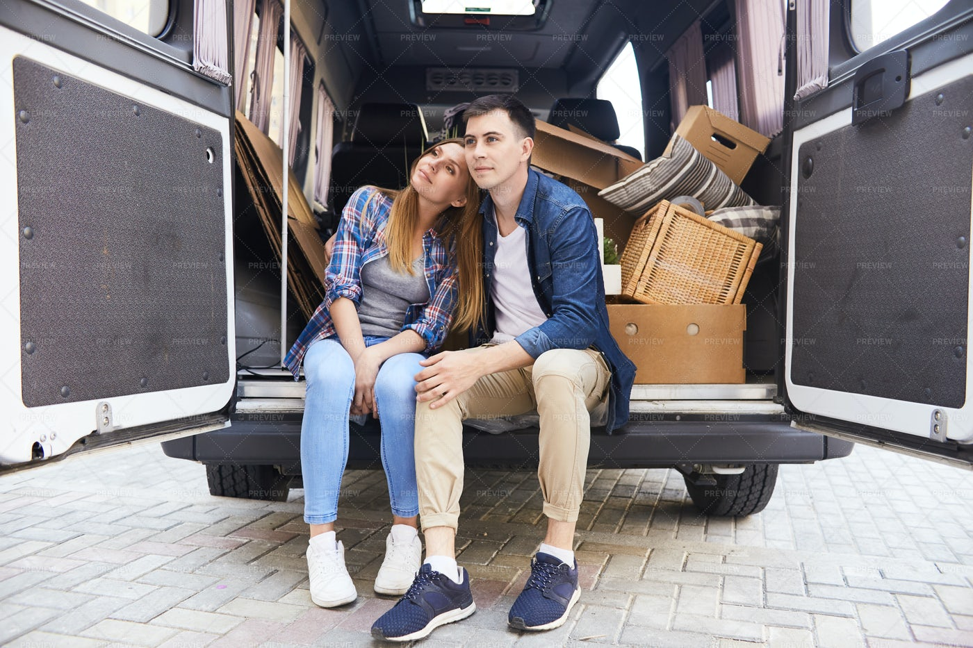 Couple Moving To New Life: Stock Photos