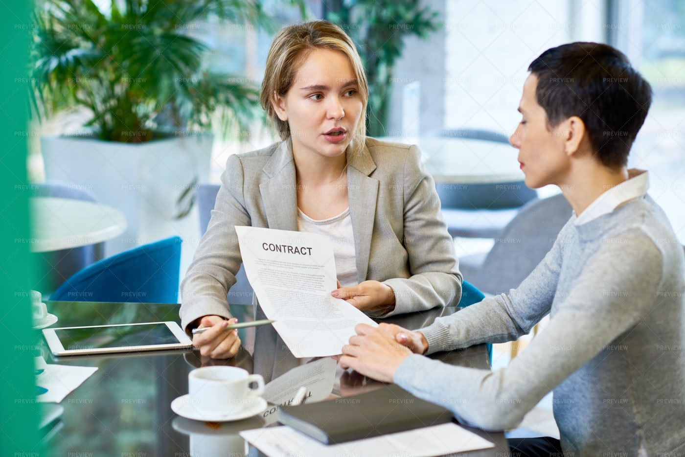 Female Business Partners Discussing...: Stock Photos