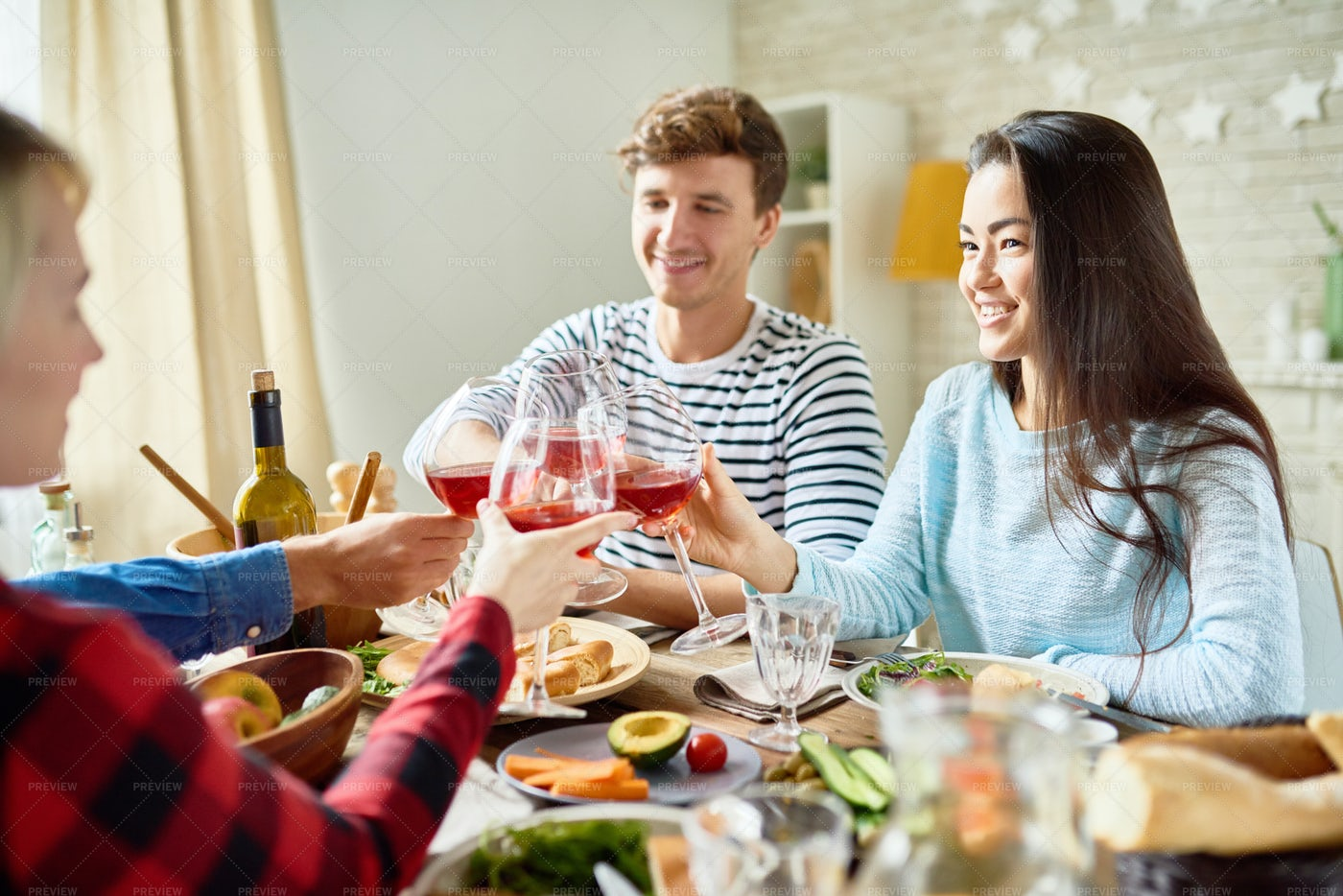 Friends Toasting At Thanksgiving...: Stock Photos