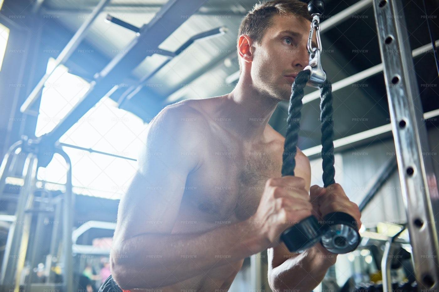 Muscular Man In Gym: Stock Photos