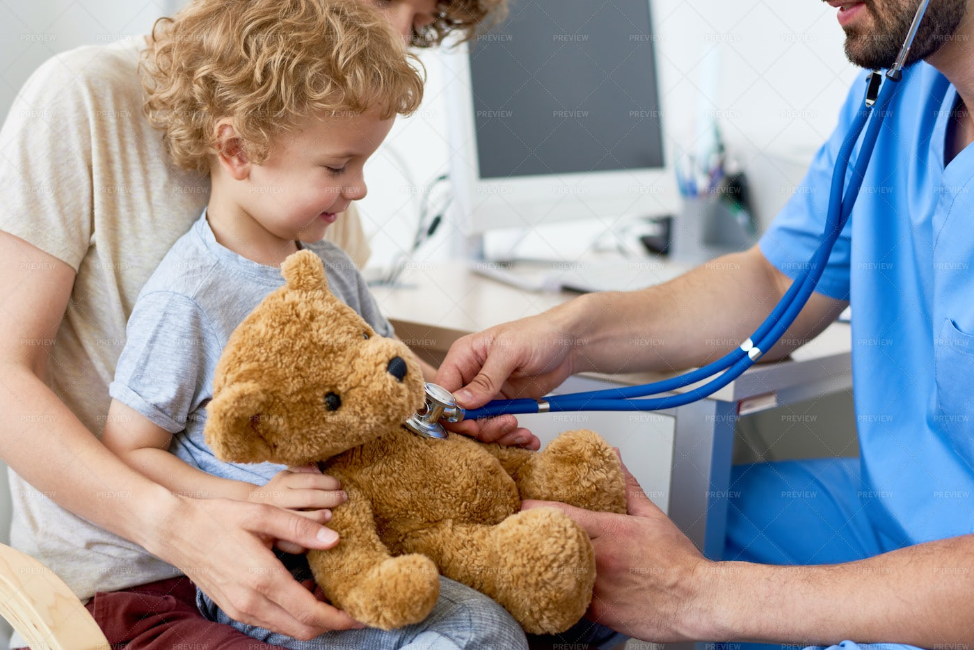 Mother And Child In Pediatric...: Stock Photos